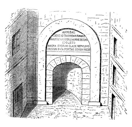 Gate of Spoleto, in rome,  Roman Architecture, Florida Center for Instructional Technology, vintage line drawing or engraving illustration.