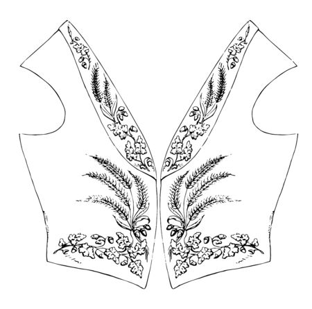 Vest is embroidered in gold on rich silk, vintage line drawing or engraving illustration.