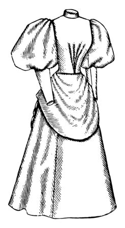 Late 19th Century Dress is an apron like drape over the front, vintage line drawing or engraving illustration.