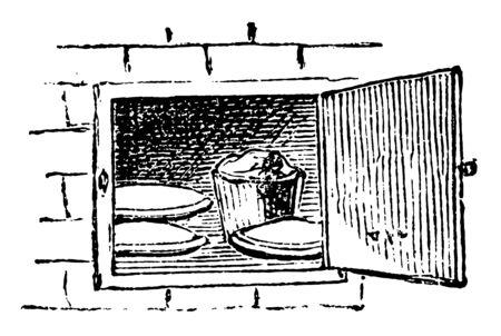 Ofen ist ein elektrisches Haushaltsgerät, das zum Erhitzen, Backen von Lebensmitteln, Vintage-Linienzeichnung oder Gravierillustration verwendet wird.