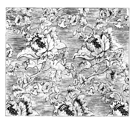 Damask Fabric is a figured pattern using a weaving process, it is a reversible figured fabric of silk and wool with a pattern formed by weaving, vintage line drawing or engraving illustration. 向量圖像