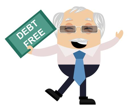 Old man debt free, illustration, vector on white background.