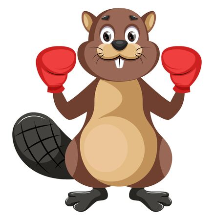 Beaver with boxing gloves, illustration, vector on white background.