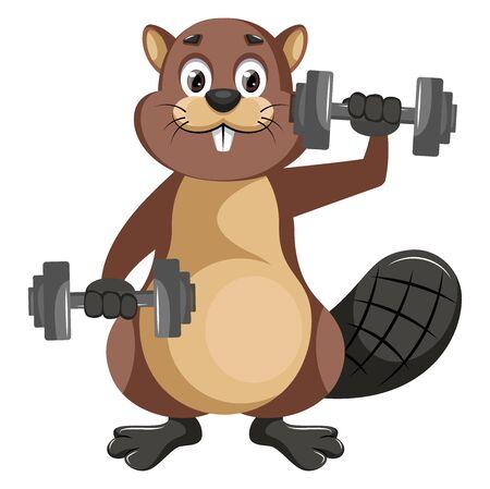 Beaver with weights, illustration, vector on white background. Illusztráció