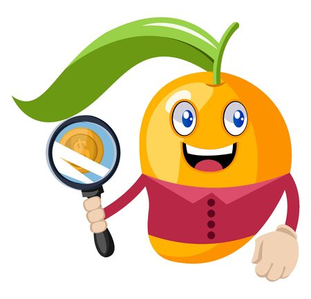 Mango with magnifying glass, illustration, vector on white background. Stock Illustratie