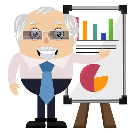 Old man with analytics table, illustration, vector on white background.