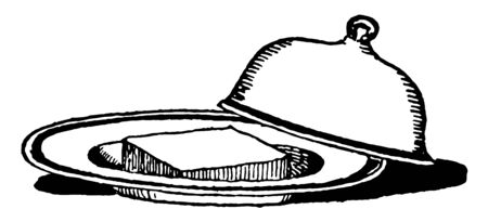 Butter in dish with lid is a Slice of Butter in a dish with Lid, vintage line drawing or engraving illustration.