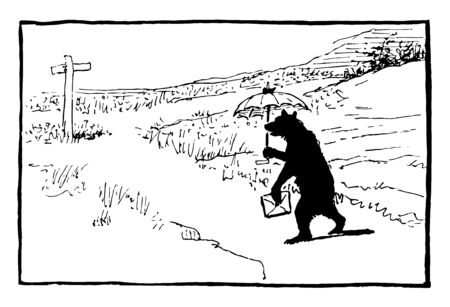 A bear walking on road with umbrella and holding envelope, cross on the ground, vintage line drawing or engraving illustration
