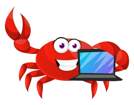 Crab with lap top, illustration, vector on white background.