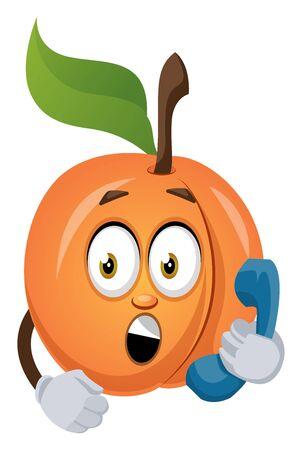 Apricot speak on telephone, illustration, vector on white background. Ilustração