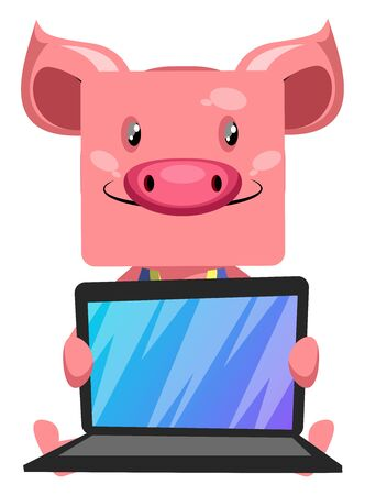 Pig with lap top, illustration, vector on white background.