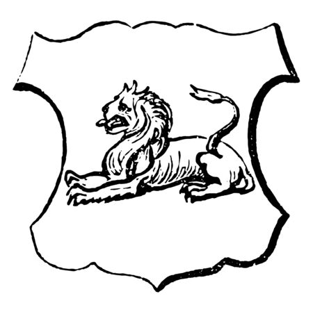 Lion Couchant are the French word for lying down with the breast towards the earth, vintage line drawing or engraving illustration. Illusztráció