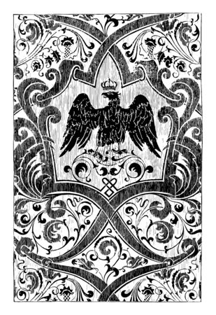 Silk Fabric is intended for royal use, It is designed with a black eagle of Prussia, vintage line drawing or engraving illustration.