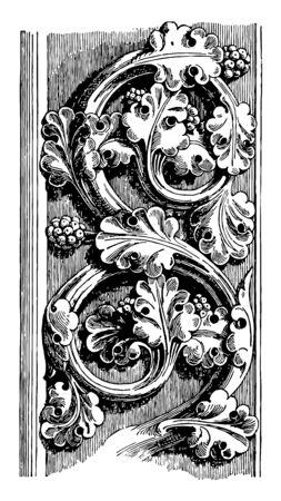 Medieval Conventionalized Foliage,  style of Notre Dame de Paris, Notre Dame, Paris, end of 13th century, vintage line drawing or engraving illustration.