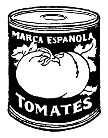 Canned Tomatoes are tomatoes peeled, processed by heat and sealed in metal can with lid, vintage line drawing or engraving illustration Çizim