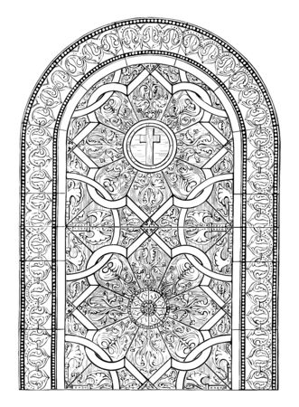Glass Painting Window is found in Newcastle upon Tyne in England, It has an early Norman style with colors of ruby and green, vintage line drawing or engraving illustration.