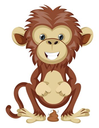 Monkey pooping, illustration, vector on white background.