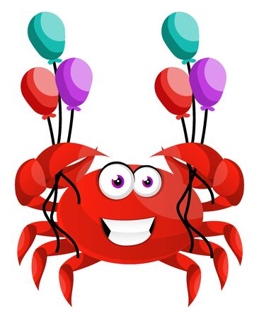 Crab with balloons, illustration, vector on white background.