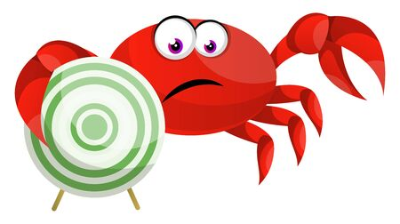 Crab with target, illustration, vector on white background.