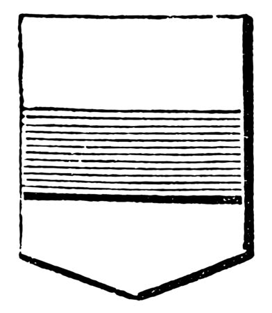 Shield Showing Fess may be more than one bar in an escutcheon, vintage line drawing or engraving illustration.