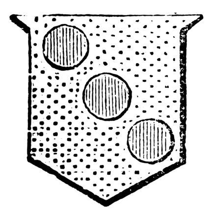 Roundlets in Bend have three torteaux in this design, vintage line drawing or engraving illustration. Ilustração