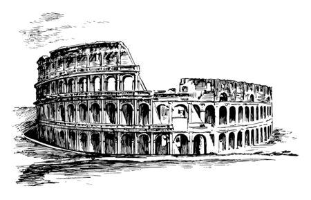 Kolosseum, Eine Illustration des Römers, wie zum Beispiel Seeschlachten, Dramen auf der Grundlage der klassischen Mythologie, Vintage-Linienzeichnung oder Gravurillustration.