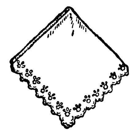 Weißes Spitzentaschentuch, das wie ein Schal, eine Vintage-Linienzeichnung oder eine Gravurillustration verwendet wird. Vektorgrafik