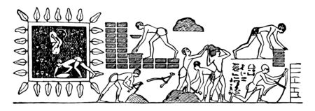 Brick Baking is an illustration of an Egyptian hieroglyphic, vintage line drawing or engraving illustration.
