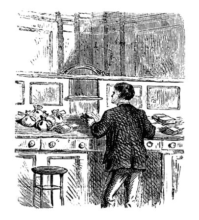 This illustration represents Banker Sorting Money at Counter, vintage line drawing or engraving illustration.