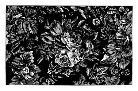 Rug is designed in a floral design, it is a textile floor covering, vintage line drawing or engraving illustration.