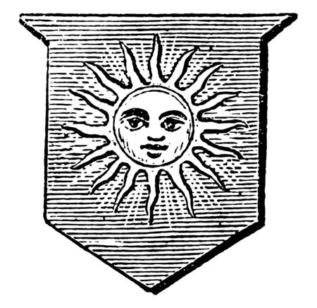 Sun in its Splendor is a figured, vintage line drawing or engraving illustration.