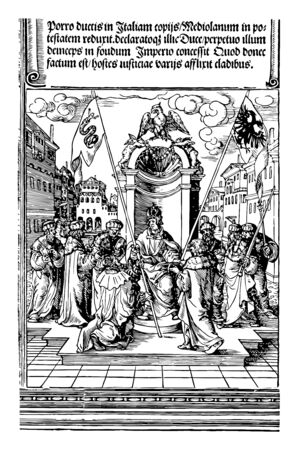 The Investiture of the Duke of Milan is created by carving an image on a wooden block and rolling ink over that surface, vintage line drawing or engraving illustration.