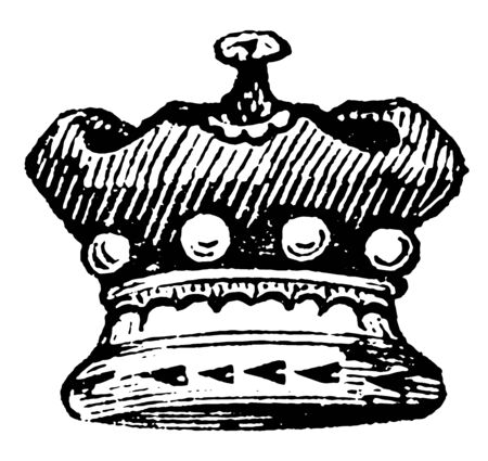 Baron Coronet is a small crown, vintage line drawing or engraving illustration.