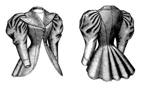 Cutaway Coat is a late 19th century design, vintage line drawing or engraving illustration.