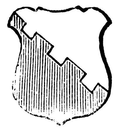 Crescent is a Azure argent, vintage line drawing or engraving illustration.