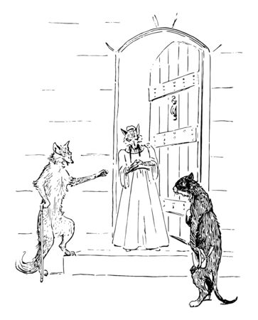 Two foxes standing at the door talking to cat standing in front of them, vintage line drawing or engraving illustration Stok Fotoğraf - 132799865