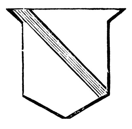 Shield Showing Riband is one third less than the garter and the bendlet, vintage line drawing or engraving illustration.