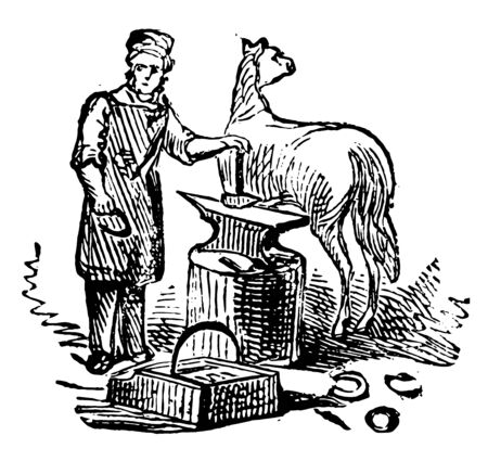 This illustration represents Blacksmith which is a metalsmith, vintage line drawing or engraving illustration.