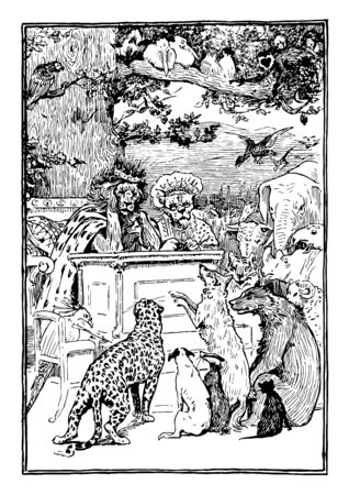 Two lions as king and queen sitting on bench in the court, a bird sitting on chair and writing something, and other animals standing around them, vintage line drawing or engraving illustration