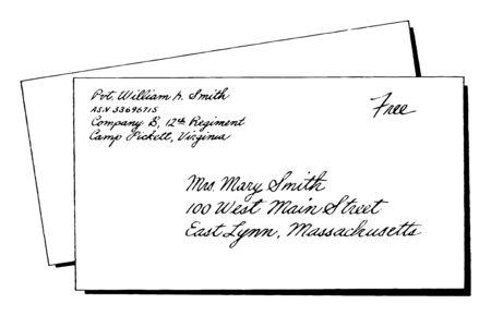 Addressed Envelope or addressing your envelope, letter, printing on custom envelopes, vintage line drawing or engraving illustration. Ilustracja