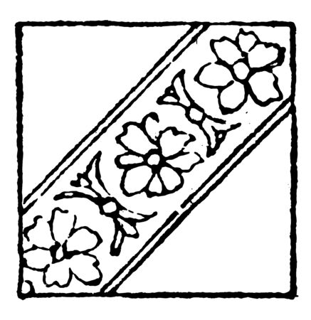 Floral Bend Sinister Damaskeening is a reverse of a standard bend, an ordinary in heraldry, vintage line drawing or engraving illustration.