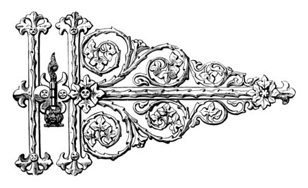 Gothic Hinge is designed in a scrolling, fronts is totally unique, household objects and scrolling leaf, vintage line drawing or engraving illustration.