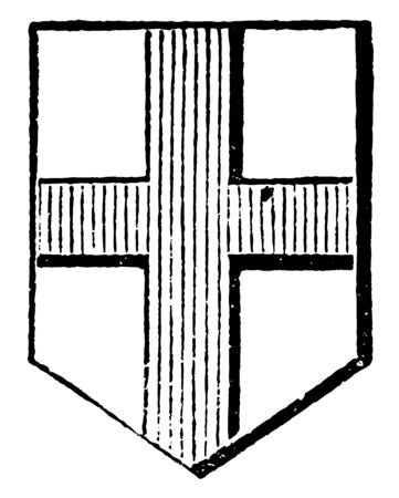 Cross is an honorable ordinary, vintage line drawing or engraving illustration.