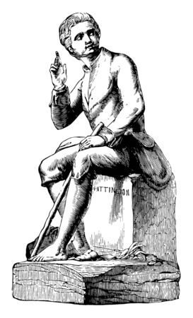 Sculpture was depicts Whittington listening to the bells of London, vintage line drawing or engraving illustration.