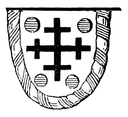 Guidon is generally charged with the paternal arms of the deceased, vintage line drawing or engraving illustration.