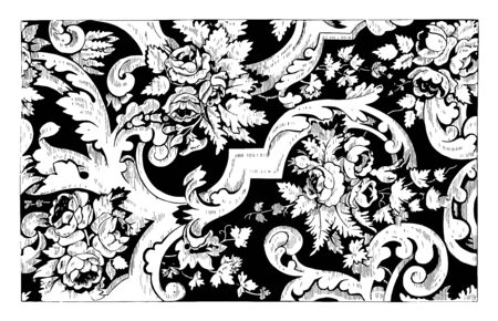 Rug is made out of double cotton in a floral design, these fibers are less expensive than wool, vintage line drawing or engraving illustration. Illustration