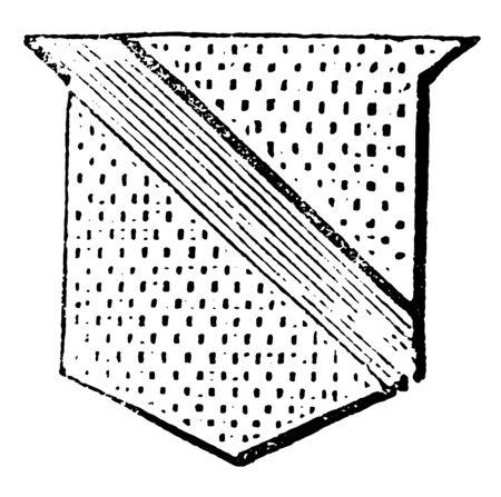 Garter are one of the diminutives of the bend, vintage line drawing or engraving illustration. Ilustração