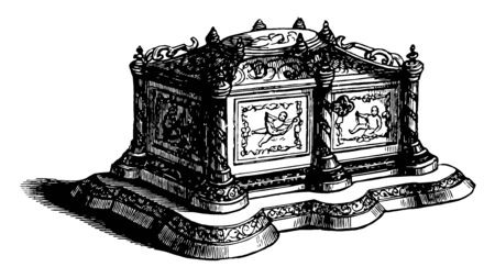 Casket is adorned with malachite and precious stones, vintage line drawing or engraving illustration.