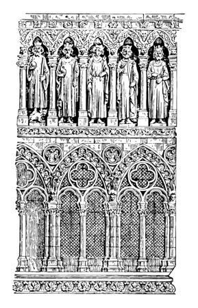 Galleries of Cathedral of Amiens,  illustrating treatment, galleries,  decorative feature,  gallery,  Sculpture, vintage line drawing or engraving illustration.