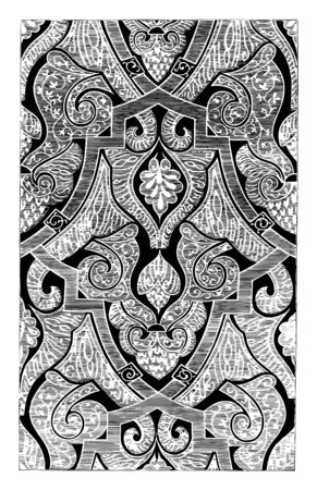 Tapestry has an Alhambra design throughout, it is a form of textile art, vintage line drawing or engraving illustration. Çizim